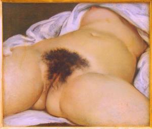"""O emblemático """"A origem do mundo"""" de Gustav Courbet, chocando a sociedade pela simples exibição do sexo feminino como é"""