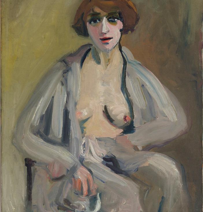 Émilie Charmy por ela mesma - Autoportrait au peignoir ouvert, 1915-1920