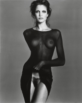 Stephanie Saymour, modelo, 1992. Poderoso Ana suromai (gesto de mostrar a vulva) do nosso tempo