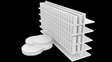 Peça em formato de pódio para pegar os produtos